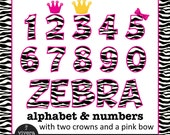 Digital Clip Art - Zebra Letters and Numbers with Hot Pink Outine and additional Pink Bow, Pink Crown and Golden Crown