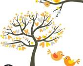 Grey Marmalade Love Birds - Yellow, Orange, and Charcoal Grey - Digital Clip Art