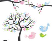 Love Birds in Blue, Pink, Green, and Silver - with little baby bird - Digital Clip Art