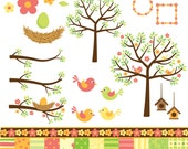 Digital Clip Art Pack - Birds, Trees, Birdhouse, Nest and Papers - It's A Warm Spring