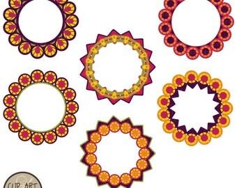 Digital Clip Art - Circle Frames - Six Bright Colored Circle Frames