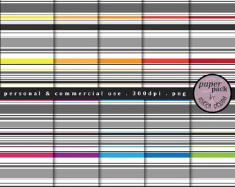 """CLIP ART - Digital Paper Pack - Modern Stripes - Gray stripes with lines of bold colors - 12"""""""