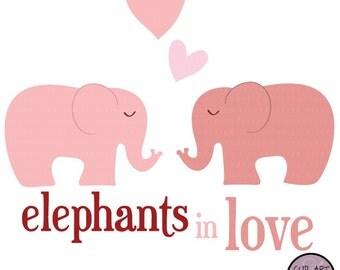 Digital Clip Art - Elephants in Love - in Pink