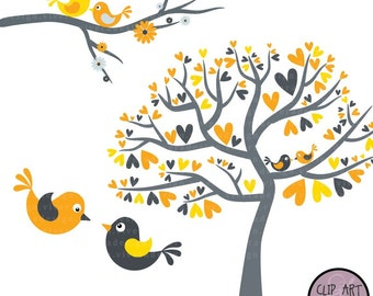 Love Birds in Yellow and Grey - Digital Clip Art