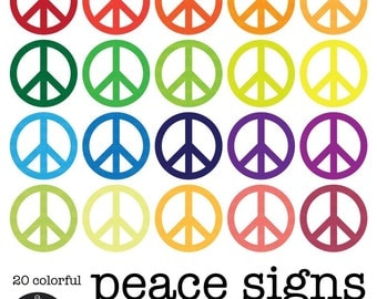 Peace Signs Clip Art in 20 Colors