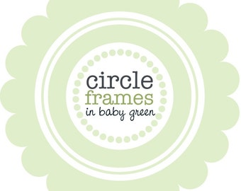 Digital Clip Art - Circle Frames in Soft Wasabi Green