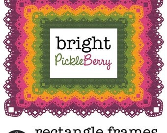 Digital Clip Art - Rectangle Lace Frames - Bright Pickleberry