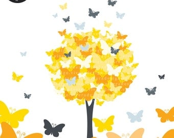 Digital Clip Art - The Butterfly Tree - in Yellow and Gray