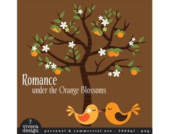 Romance Under the Orange Blossoms - Love Birds under the Orange Tree - Digital Clip Art