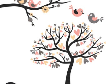 Love Birds in Sweet Pink, Cream, and Grey - Digital Clip Art