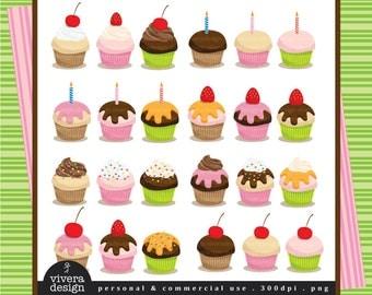 Cupcake Creative Pack - Decorate Your Own Cupcake - Digital Clip Art