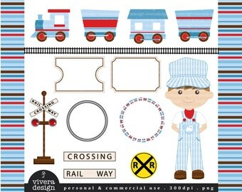 Party Train Clip Art - All Aboard - in Sky Blue, Brown, and Red