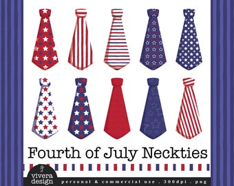 Digital Neckties - Fourth of July - Red, Blue, White, Stars, and Stripes