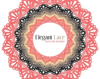 Circle Frames - Elegant Lace - Love Me Tender - Sweet Pink, Cream, Brown, and Gray
