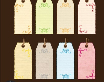 Digital Clip Art - Soft Colored Textured Tags with Swirls
