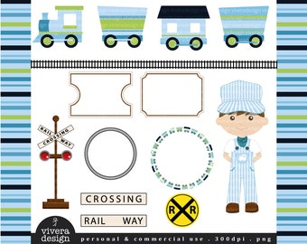 All Aboard the Party Train Clip Art - in Sky Blue, Lime Green and Navy