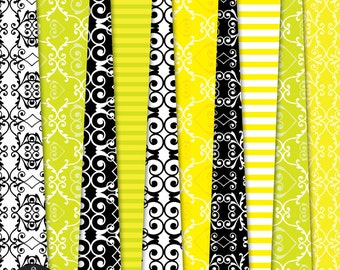Digital Paper Pack - The Garden of Love in Bright Yellow, Lime Green, Black and White