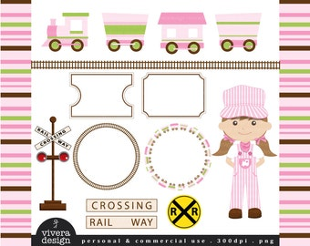 All Aboard the Party Train Clip Art - in Pink, Lime Green, and Brown - For Girls