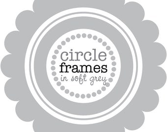Circle Frames in Grey Digital Clip Art