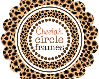 Digital Clip Art - Circle Frames in Cheetah Pattern