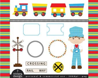 All Aboard the Party Train Clip Art - in Primary Red, Yellow, and Blue