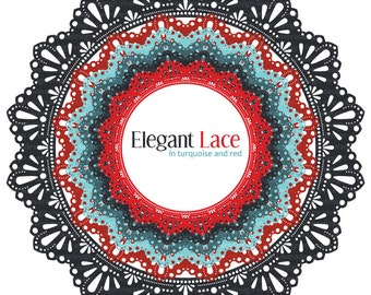 Circle Frames - Elegant Lace - in Turquoise and Red