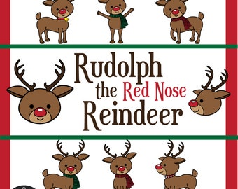 Digital Clip Art - Rudolph the Red Nose Reindeer - with separate accessories