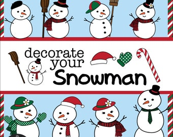 Digital Clip Art - Decorate Your Snowman - for your Christmas art