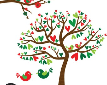 Christmas Love Birds - Red and Green - Digital Clip Art