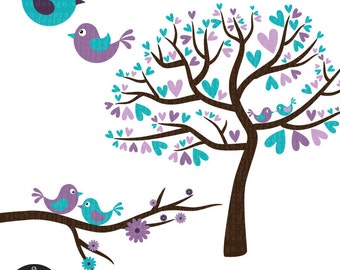 Love Birds in Purple and Turquoise - Digital Clip Art