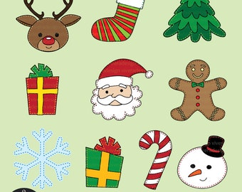 Clip Art - Christmas Set with Stitches - Santa, Reindeer, Candy Cane, Christmas Tree, Gingerbreadman, Snowman, Presents, Snowflakes