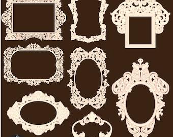 Digital Clip Art - Vintage Frames - in Ivory