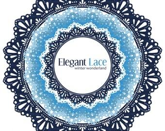 Digital Circle Frames - Elegant Lace - Blue Winter Wonderland