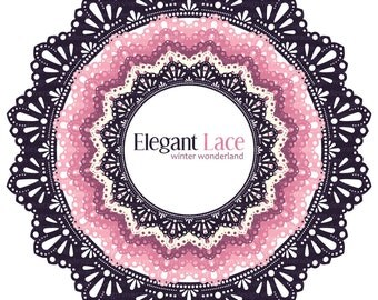 Digital Circle Frames - Elegant Lace - Pink Winter Wonderland