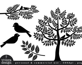 Digital Silhouette - Love Birds, Branches and Tree in Black - Digital Clip Art