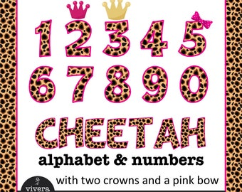 Cheetah Patterned Letters and Numbers Clip Art with Hot Pink Outine and additional Pink Bow, Pink Crown and Golden Crown