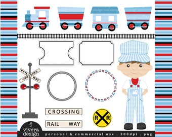 All Aboard the Party Train Clip Art - in Sky Blue, Red and Black