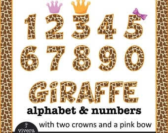 Giraffe Pattern Letters and Numbers with additional Purple Bow, Lavender Crown and Orange Crown