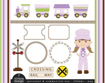 All Aboard the Party Train Clip Art - in Purple, Lime Green, and Brown - For Girls
