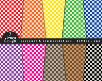 Digital Paper Pack - Checkered Papers in Bright Rainbow Colors