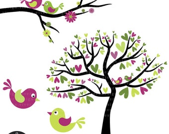Love Birds in Lime Green, Fuschia and Black - Digital Clip Art