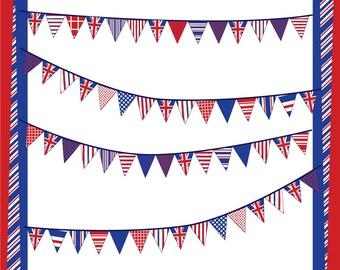 Union Jack Pennant Banners Digital Clip Art
