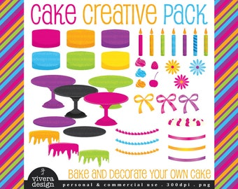 Cake Creative Pack - Decorate Your Own Cake in Lollipop Colors - Digital Clip Art