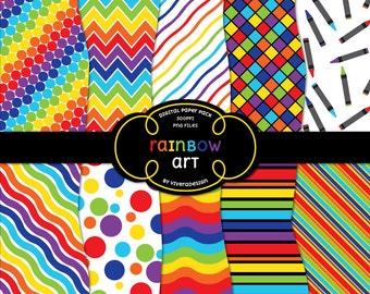 Digital Paper Pack - Rainbow Art