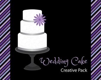 Wedding Cake Creative Pack - in Purple, White, and Grey - Digital Clip Art