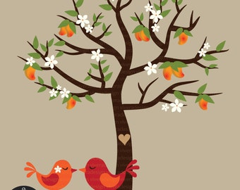 Carved on a Mango Tree - Love Birds, Mango Tree, and Branches with Mangoes - Digital Clip Art