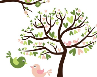 Love Birds in Lime Green and Pink - Digital Clip Art