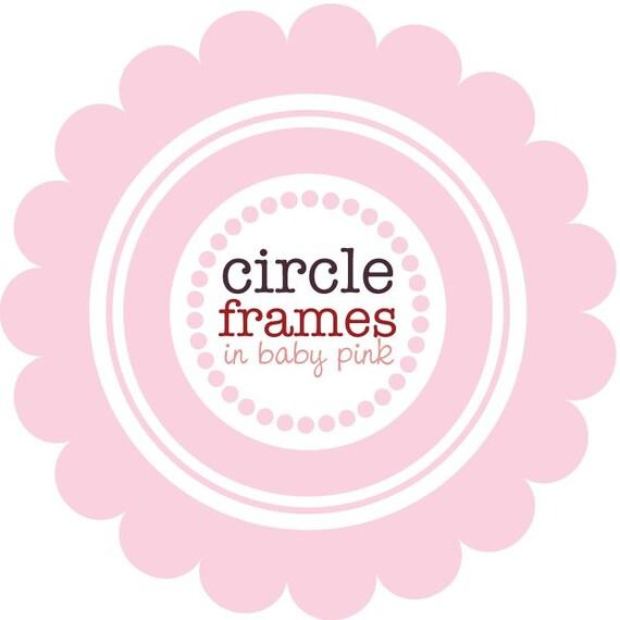 Circle Frames in Baby Pink - Digital Clip Art