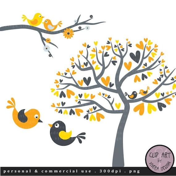 Love Birds in Yellow and Grey - Digital Clip Art