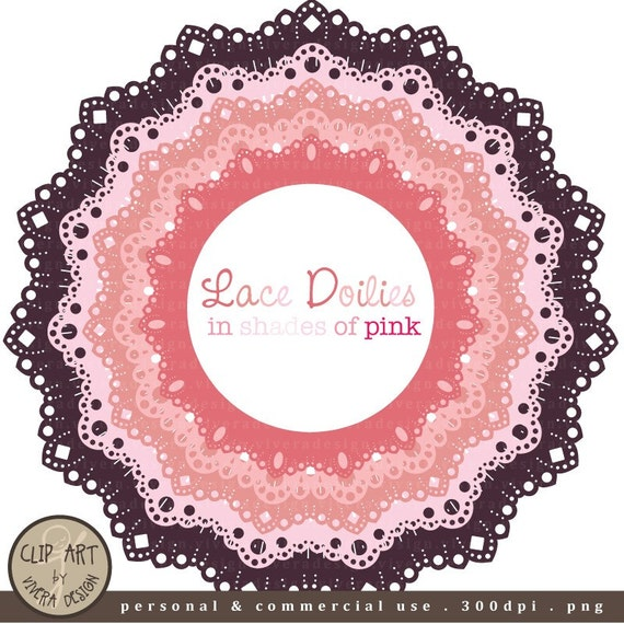 Circle Frames - Lace Doilies in Shades of Pink - Digital Clip Art